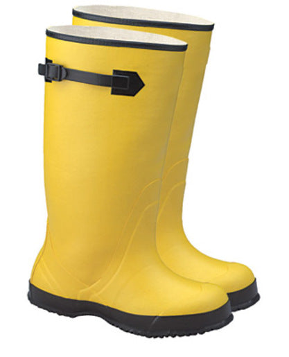 "Radnor® Size 16 Yellow 17"" Rubber Over-The-Shoe Boots With Ribbed Outsole"