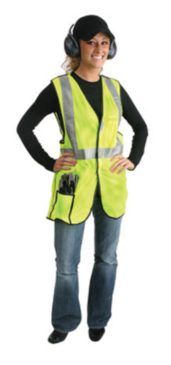 "Radnor® X-Large Yellow Lightweight Polyester Class 2 Break-Away Vest With Front Hook And Loop Closure, 2"" 3M™ Scotchlite™ Reflective Tape Striping And 2 Pockets"