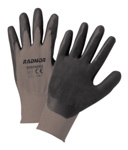 Radnor® Large Black Foam Nitrile Palm Coated Gloves With 13 Gauge Gray Seamless Nylon Liner