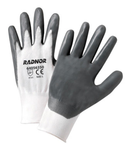 Radnor® Medium White Nitrile Coated Nylon Gloves With 13 Gauge Nylon Knit Liner And Knit Wrists