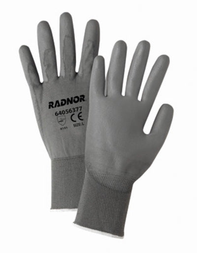Radnor® Small 13 Gauge Economy Black Polyurethane Palm Coated Work Gloves With Gray Nylon Knit Liner