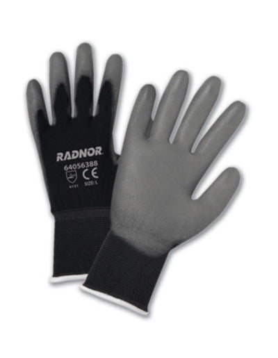 Radnor® Large Gray Premium Polyurethane Palm Coated Work Gloves With 15 Gauge Nylon Liner
