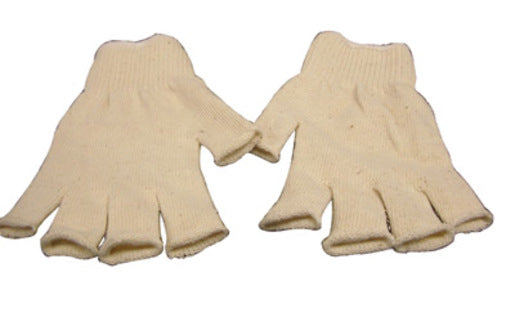 Radnor® Large Natural 7 Cut Standard Weight Polyester/Cotton Fingerless String Gloves With Knit Wrist