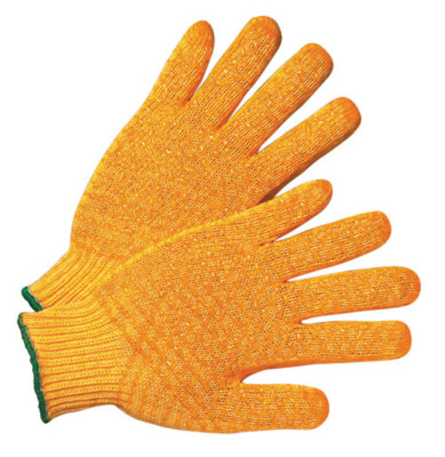 Radnor® Small Orange Medium Weight Acrylic/Polyester Ambidextrous String Gloves With Double Sided PVC Crisscross Honeycomb Pattern Coating