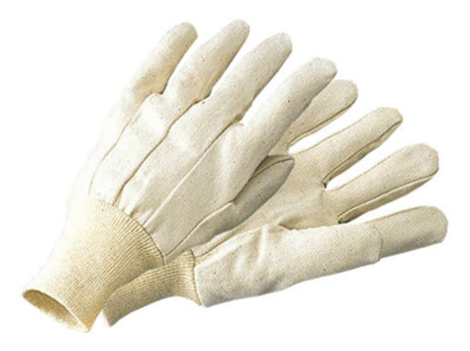 Radnor® Men's White 10 Ounce 100% Cotton Canvas Gloves With Knitwrist