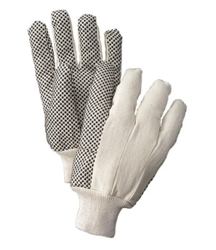 Radnor® Ladies White 8 Ounce Cotton/Polyester Blend Cotton Canvas Gloves With Knitwrist And PVC Dotted Palm, Thumb And Index Finger