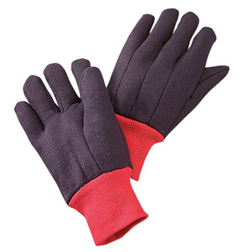 Radnor® X-Large Brown Cotton And Polyester Jersey Uncoated Work Gloves With Red Fleece Lining And Red Knit Wrist