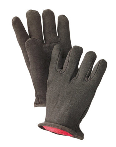 Radnor® Men's Brown 14 Ounce 100% Cotton Jersey Gloves With Slip-On Cuff And Red 100% Cotton Fleece Lining