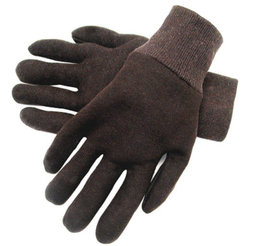 Radnor® Ladies Brown 9 Ounce Reversible Cotton/Polyester Blend Jersey Gloves With Knitwrist