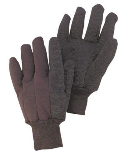 Radnor® Men's Brown 9 Ounce Cotton/Polyester Blend Jersey Gloves With Knitwrist And PVC Dotted Palm, Thumb And Index Finger