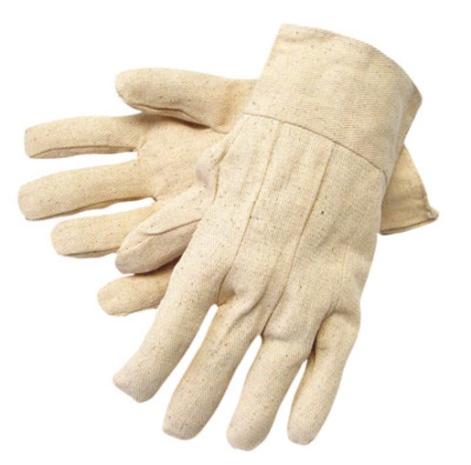Radnor® Men's White 8 Ounce Cotton/Polyester Blend Cotton Canvas Gloves With Band Top Cuff