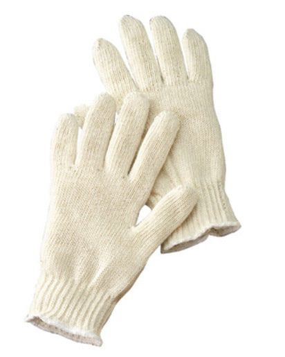 Radnor® Large Natural Light Weight Polyester/Cotton Seamless String Gloves With Knit Wrist