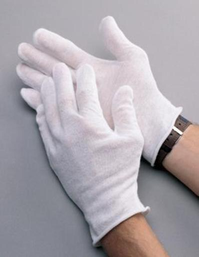 "Radnor® Men's White 9"" Heavy Weight 100% Cotton Reversible Inspection Gloves With Unhemmed Cuff"