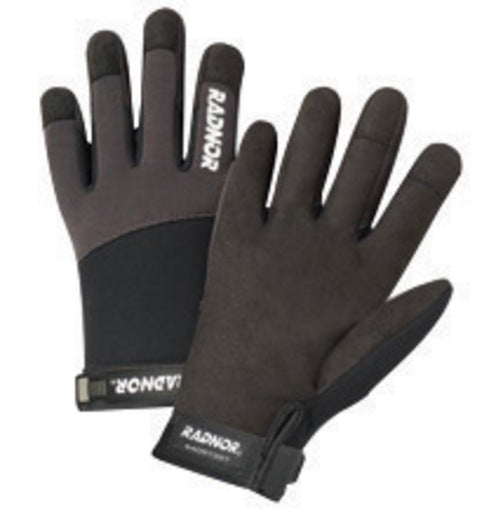 Radnor® Large Black And Gray Full Finger Synthetic Leather By Clarion® And Spandex Light-Duty Mechanics Gloves With Hook And Loop Cuff, Spandex Back And Reinforced Fingertips