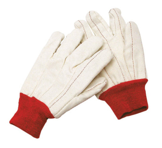 Radnor® X-Large White 18 Ounce Nap-In Cotton/Polyester Blend Cotton Canvas Gloves With Red Knitwrist, Double Palm And Standard Lining