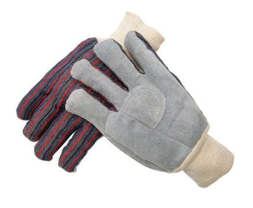 Radnor® Large Economy Grade Split Leather Palm Gloves With Knit Wrist, Striped Canvas Back And Circle Patch Reinforcement