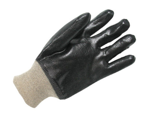Radnor® Large Black Economy PVC Glove Fully Coated With Rough Finish Palm And Knitwrist