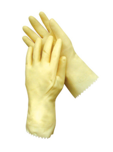 "Radnor® Small Amber 12"" Unlined 18 MIL Textured Palm Natural Latex Glove"