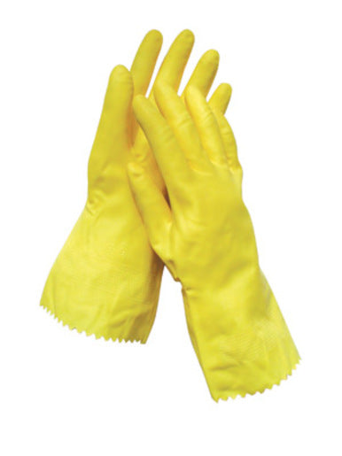 "Radnor® Medium Yellow 12"" Flock Lined 16 MIL Textured Palm Natural Latex Glove"