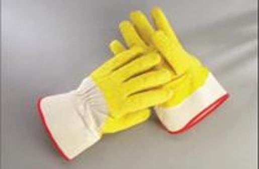 Radnor® Large Yellow/White Economy Rubber Palm Coating Wrinkle Finish Canvas Work Glove With Safety Cuff