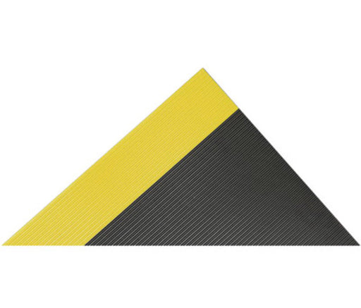 "Superior Manufacturing Notrax® 3' X 75' Black And Yellow 1/4"" Thick PVC Series 830 Insulative Non-Conductive Switchboard Mat With Rib-Tooth Pattern"