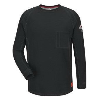 VF Imagewear¨ Bullwark¨ iQ Series X-Large Regular Black 5.3 Ounce Lightweight 69% Cotton 25% Polyester 6% Polyoxadiazole Men's Flame Resistant Long Sleeve T-Shirt With Chest Pocket With Pencil Stall