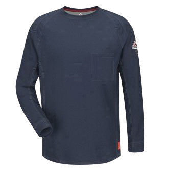 VF Imagewear¨ Bullwark¨ iQ Series Medium Regular Dark Blue 5.3 Ounce Lightweight 69% Cotton 25% Polyester 6% Polyoxadiazole Men's Flame Resistant Long Sleeve T-Shirt With Chest Pocket With Pencil Stall
