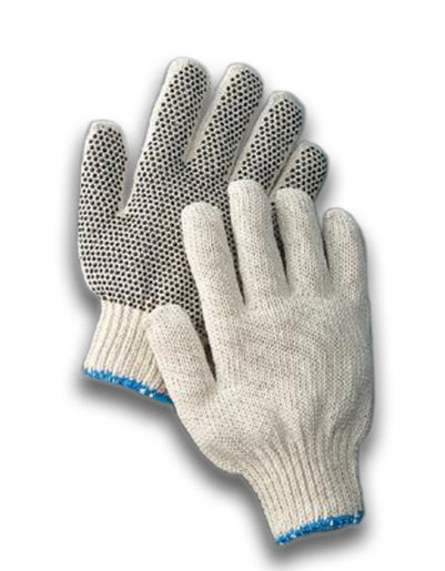 Radnor® Large Natural Medium Weight Polyester/Cotton String Gloves With Knit Wrist And Single Side Black PVC Dot Coating