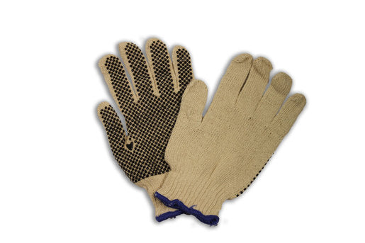 Radnor® Ladies Natural Medium Weight Polyester/Cotton String Gloves With Knit Wrist And Single Side Black PVC Dot Coating