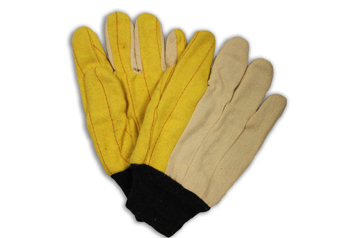 Radnor® Medium Weight White And Gold 100% Cotton Gold Chore Palm And Canvas Back Uncoated Work Gloves With Standard Liner And Knit Wrist