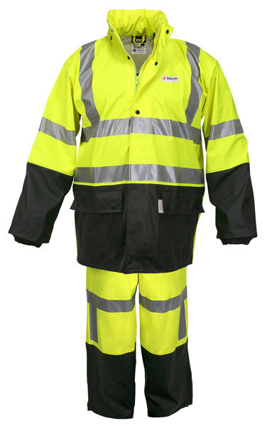 MCR Safety® Fluorescent Lime | Black Luminator™ .40 mm Polyester And Polyurethane 2-Piece Rain Suit With Attached Hood And Elastic Waist Pants