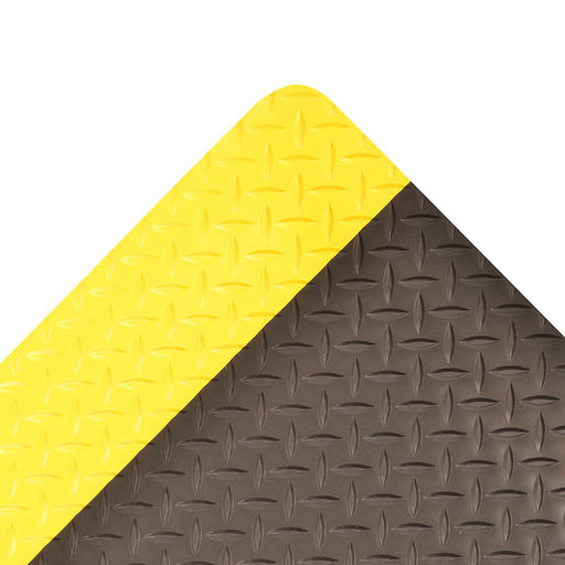 "Superior Manufacturing 2"" X 75"" Yellow And Black 1"" Thick Roll 979 Saddle Trax'Ñ¢ Non-Slip Anti-Fatigue Floor Mat"