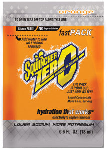 Sqwincher® .6 Ounce Fast Pack®ZERO Liquid Concentrate Packet Orange Lite Electrolyte Drink - Yields 6 Ounces (50 Single Serving Packets Per Box)