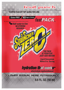 Sqwincher® .6 Ounce Fast Pack®ZERO Liquid Concentrate Packet Fruit Punch Lite Electrolyte Drink - Yields 6 Ounces (50 Single Serving Packets Per Box)
