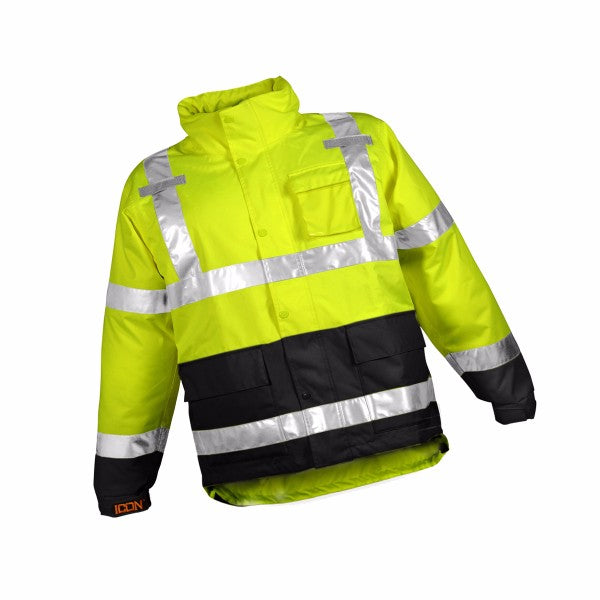 "Tingley 2X 34 1/2"" Fluorescent Yellow/Green/Black Icon'Ñ¢ Job Sight'Ñ¢ 12 mil Polyurethane And Polyester Rain Jacket With Storm Fly Front And Zipper Closure, Silver Reflective Tape And Attached Hood"