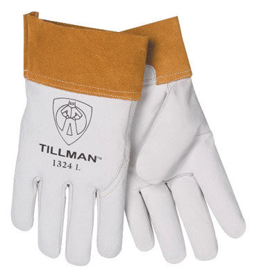 "Tillman Medium Pearl Top Grain Kidskin Standard Grade TIG Welders Gloves With Wing Thumb, 2"" Cuff, Seamless Forefinger And Kevlar¨ Lock Stitching (Carded)"