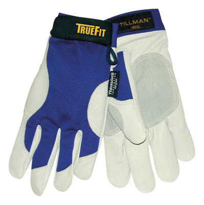 Tillman™ Medium Blue And Gray TrueFit™ Top Grain Pigskin And Nylon Thinsulate™ Lined Cold Weather Gloves With Reinforced Thumb, Elastic Cuff, Hook And Loop Closure, Rough Side Out Double Palm And Spandex® Back