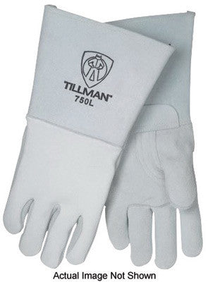 "Tillman™ Medium 14"" Pearl Gray Top Grain Elkskin Cotton Foam Welders' Gloves With Stiff Cowhide Thumb, Straight Cuff, Welted Fingers, Kevlar® Stitching And Pull Tab (Carded)"