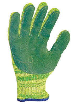 Wells Lamont Large Green And Yellow Whizard® Metalguard® Gunn Cut 7 ga Heavy Weight Fiber And Stainless Steel Ambidextrous Cut Resistant Gloves With Knitwrist, Dyneema® Lined And Additional Reinforcement Thumb Crotch