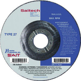 "United Abrasives 5"" X 1/4"" X 7/8"" Saitech Attacker™ Ceramic Aluminum Oxide Type 27 Grinding Wheel (Qty 1)"