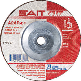 "United Abrasives 5"" X 3/32"" X 5/8"" - 11 A24R 24 Grit Aluminum Oxide Type 27 Cut Off Wheel (Quantity 10)"
