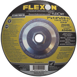 "FlexOVit™ 9"" X 1/8"" X 5/8"" - 11 ZA24S Zirconia Alumina FLEXON® Heavy Duty Type 27 Spin-On Depressed Center Cut Off And Grinding Wheel For Use With Angle Grinder On Metal And Stainless Steel (Quantity 10)"