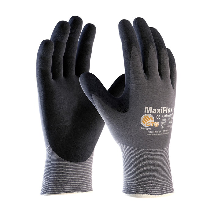 Protective Industrial Products¨ Large MaxiFlex¨ Ultimate by ATG¨ 15 Gauge Abrasion Resistant Black Micro-Foam Nitrile Palm And Fingertip Coated Work Gloves With Gray Seamless Knit Nylon And Lycra¨ Liner And Continuous Knit Wrist 34-874