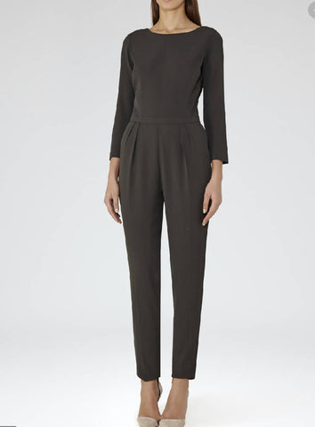 Reiss BNWT dark green long-sleeved jumpsuit, size 14