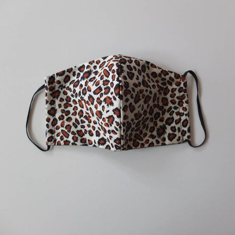 Face Covering. Leopard Print Fabric Face Mask with filter and nose piece