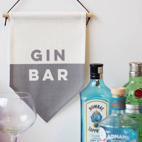 Gin Bar Linen Flag Wall Hanging
