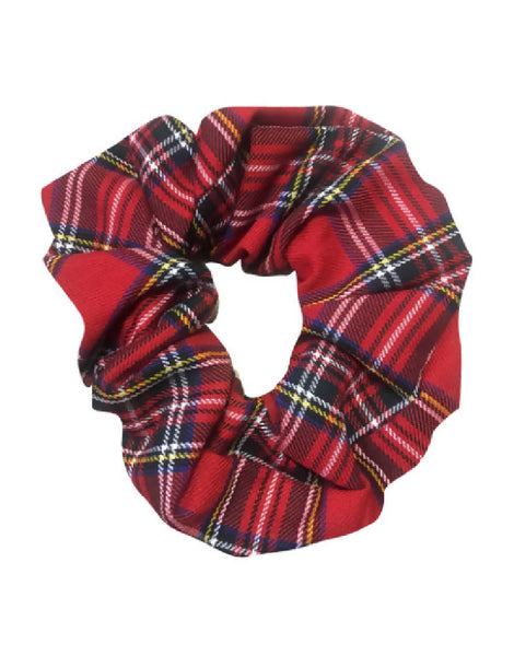 PRETTY DISTURBIA TARTAN HANDMADE DESIGNER RED SCRUNCHIE PUNK ROCKABILLY