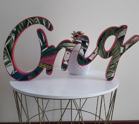 'Omg'.....wooden word with tropical print