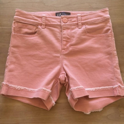 GAP girls' coral denim shorts, age 8