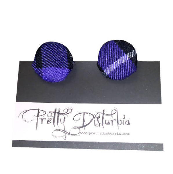 PRETTY DISTURBIA HANDMADE PUNK GRUNGE PURPLE TARTAN OVERSIZED CLIP ON STUD EARRINGS